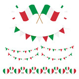 Set, collection of design elements, flags for Italian National Day, Republic day. - 207365275
