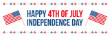 4th of july, american independence day flat design wide horizontal vector illustration, card. - 207365284