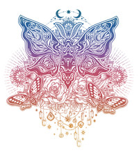 Ornate Floral Composition Of Butterflies Or Moths Fantasy Style Ornate Insects Sticker