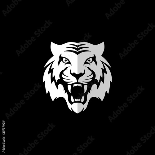 Fototapeta intimidating tiger front view theme logo template