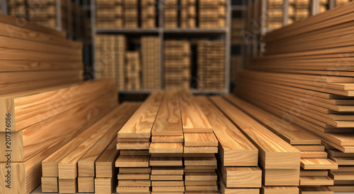 Wood in Warehouse - 207376086