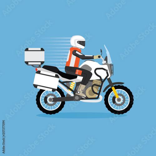 Man riding touring motorcycle