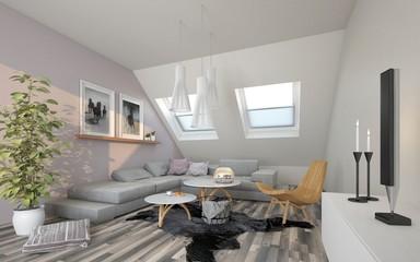Wohnzimmer im Dachgeschoss
