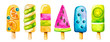 Leinwanddruck Bild - Watercolor clip art set with colorful icecream