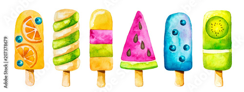 Leinwanddruck Bild Watercolor clip art set with colorful icecream