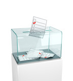 Elections, voting. Putting the newsletter in a glass box. 3d illustration - 207380866