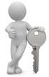 Leinwanddruck Bild - 3D Männchen mit Schlüssel