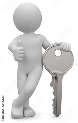 Leinwanddruck Bild 3D Männchen mit Schlüssel