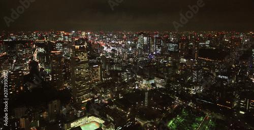 Noc widok w Tokio Japonia