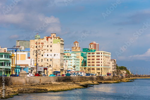 Fotobehang Havana CUBA, HAVANA - MAY 5, 2017: View of residential buildings on the Malecon embankment. Copy space for text.
