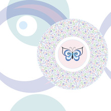 Seamless Stylish    Butterfly In A Circle  A Floral Pattern In Pastel Colors On A Backdrop Of Circles And Rings  Sticker