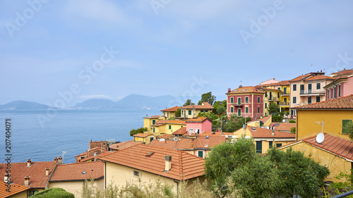 Scenic View Cityscape and Seascape of Tellaro Liguria Italy