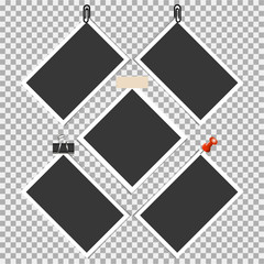 Photo frame with pin, clip and with sticky tape on grey background. Vector illustration © yan4ik
