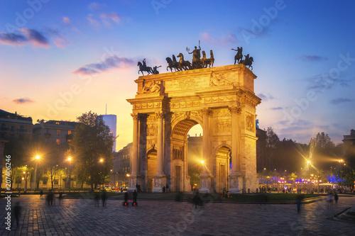 Foto Spatwand Milan Arch of Peace - Sempione Park, Milan, Italy