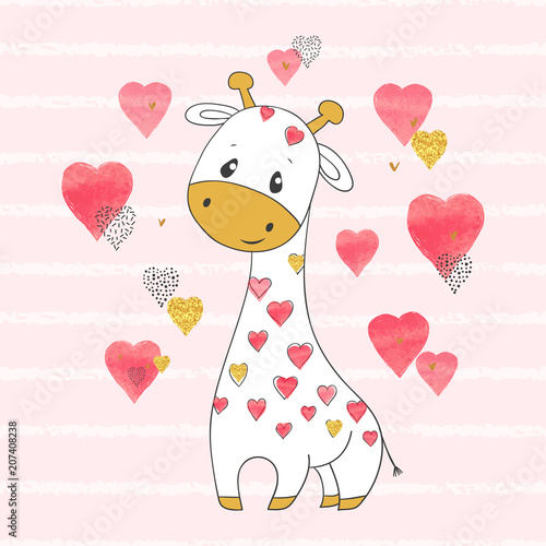 Cute cartoon giraffe with hearts. Vector childish illustration.