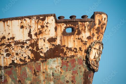 Fotobehang Schip View of a Dimitrios Shipwreck in Gytheio, Mani, Greece