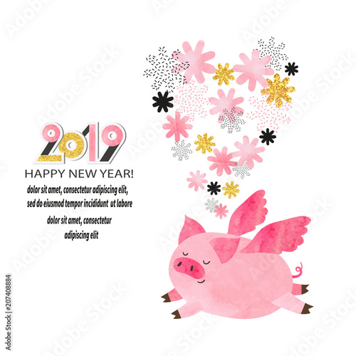 Happy New Year 2019 greeting card. Cute watercolor flying pig. Vector illustration.