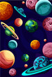 Blue background with creative colorful planets. - 207409806