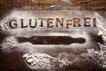 text gluten free written in german