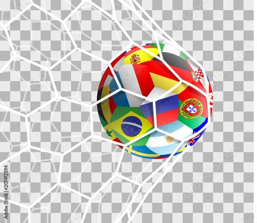 Fussball mit Nationalflaggen im Tor Netz isoliert transparent