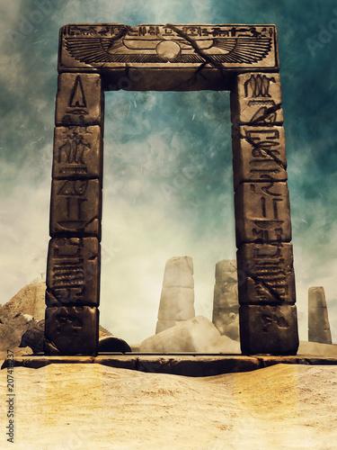 Fotobehang Diepbruine Ruiny starożytnej egipskiej bramy z hieroglifami