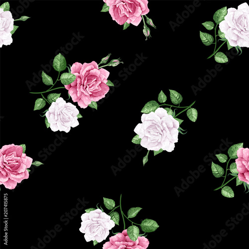 Rose flowers, petals and leaves in watercolor style on black background. Seamless pattern for textile, wrapping paper, package - 207415875