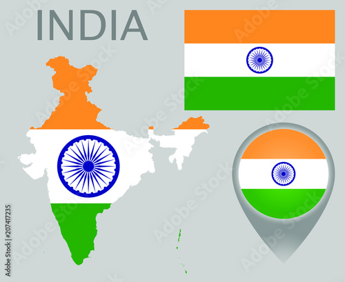 Colorful flag, map pointer and map of India in the colors of the Indian flag. High detail. Vector illustration - 207417235