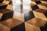 Classic old wooden parquet, volume cubes - 207418035