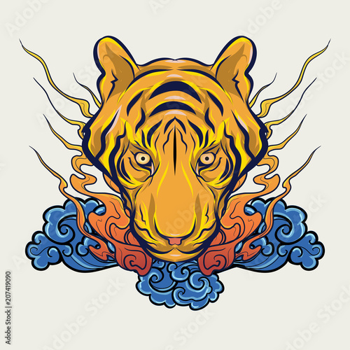 Fototapeta Japanese style tiger vector illustration
