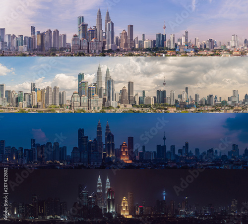 Morning afternoon Evening Night. Four time of day. Kuala Lumpur skyline, view of the city, skyscrapers with a beautiful sky