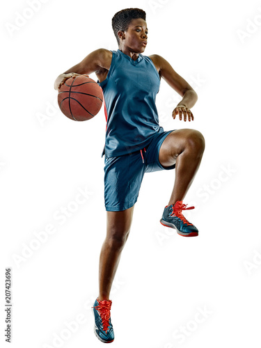 Fotobehang Basketbal one african Basketball players woman teenager girl isolated on white background with shadows