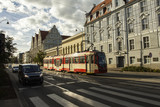 A public transport tram rides along the Gdansk street. Poland