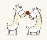 Couple of two cute in loved giraffes. Happy Valentine`s Day vector cartoon illustration poster - 207427079