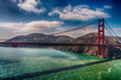 Aerial overhead view of San Francisco Golden Gate Bridge from helicopter