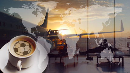 World Cup of coffee. Airport and soccer or football sign. Global map and boarding queue. Double exposure collage. Elements of this image furnished by NASA