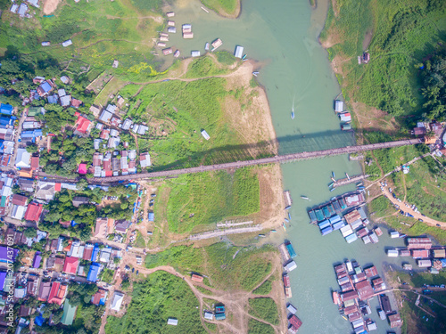 Fotobehang Olijf wood bridge thailand. Wood bridge.Tourism of Thailand.