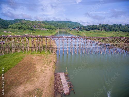 Canvas Khaki wood bridge thailand. Wood bridge.Tourism of Thailand.