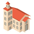 school building isometric icon vector illustration design