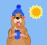 Groundhog with a cup of coffee on February 2
