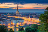 Turin. Aerial cityscape image of Turin, Italy during sunset. - 207439444