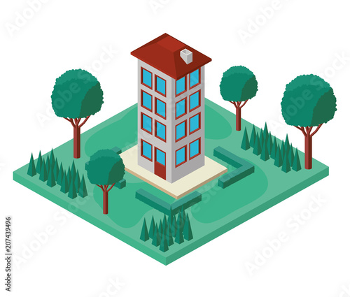 building with landscape isometric icon vector illustration design