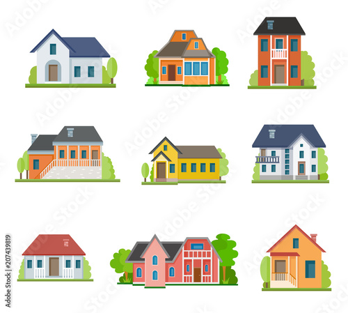Zestaw ikon płaski dom