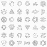 Set of geometric elements, impossible shapes, isolated on white, line design, vector illustration - 207443802