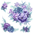 Set of Watercolor Bouquets with Fern, Flowers and Berries