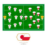 Football match Japan versus Poland. - 207446054