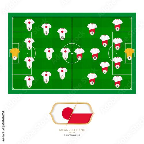 Fototapeta Football match Japan versus Poland.