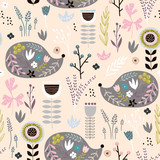 Seamless pattern hedgehogs with floral elements, branches. Creative woodland background. Perfect for kids apparel,fabric, textile, nursery decoration,wrapping paper.Vector Illustration - 207446849