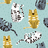 Seamless childish pattern with cute tigers. Creative kids texture for fabric, wrapping, textile, wallpaper, apparel. Vector illustration - 207446868