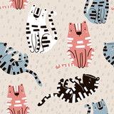 Seamless childish pattern with cute tigers. Creative kids texture for fabric, wrapping, textile, wallpaper, apparel. Vector illustration - 207446875