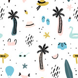 Seamless pattern with summer elements. Creative vector texture with palm tree,bikini,hat,sunglasses - 207446888